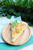 Piece of puff pastry snack pie with pears Royalty Free Stock Photography