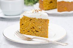Piece of pumpkin cake with cream horizontal Royalty Free Stock Photo