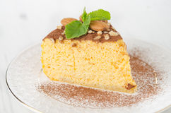 A piece of pumpkin cheesecake closeup Royalty Free Stock Image