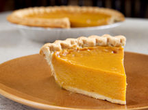 Piece of pumpkin pie Royalty Free Stock Images