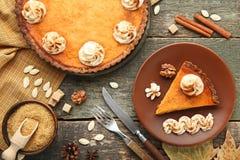 Piece of pumpkin tart stock photography