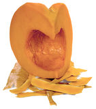 Piece of purified pumpkin. Cut into pieces and peeled pumpkin with peel, isolated on white background Stock Image