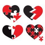 Piece puzzle heart,  illustration isolated on white background Royalty Free Stock Photo