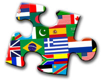 Piece of puzzle with international flags.  stock illustration