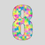 Piece Puzzle Jigsaw Number - 8 Eight. Vector Puzzle Jigsaw Number - 8 Eight. Gigsaw made of Colored Puzzle Piece - Vector Illustration. Puzzle Font. Creative Stock Photography