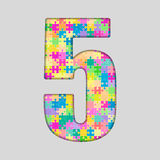 Piece Puzzle Jigsaw Number - 5 Five. Vector Puzzle Jigsaw Number - 5 Five. Gigsaw made of Colored Puzzle Piece - Vector Illustration. Puzzle Font. Creative Toy Stock Image