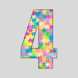 Piece Puzzle Jigsaw Number - 4 Four. Vector Puzzle Jigsaw Number - 4 Four. Gigsaw made of Colored Puzzle Piece - Vector Illustration. Puzzle Font. Creative Toy Stock Photography