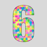 Piece Puzzle Jigsaw Number - 6 Six. Vector Puzzle Jigsaw Number - 6 Six. Gigsaw made of Colored Puzzle Piece - Vector Illustration. Puzzle Font. Creative Toy Royalty Free Stock Photo