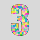 Piece Puzzle Jigsaw Number - 3 Three. Vector Puzzle Jigsaw Number - 3 Three. Gigsaw made of Colored Puzzle Piece - Vector Illustration. Puzzle Font. Creative Stock Image