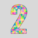 Piece Puzzle Jigsaw Number - 2 Two. Vector Puzzle Jigsaw Number - 2 Two. Gigsaw made of Colored Puzzle Piece - Vector Illustration. Puzzle Font. Creative Toy Stock Images