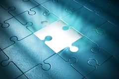 Piece of the puzzle. Missing piece of the puzzle of success stock photography