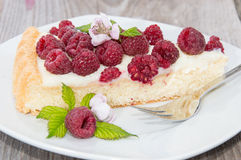 Piece of Raspberry Cake Stock Photos