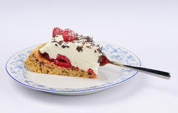 Piece of raspberry cheese torte on a plate Stock Photo
