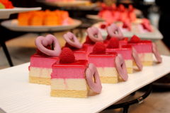 Piece of raspberry  No Bake Layer Cake Stock Photos