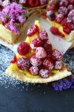 Piece of raspberry Tart. Food close-up Royalty Free Stock Photos
