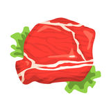 Piece Of Raw Beef, Food Item Rich In Proteins, Important Element Of The Healthy Balanced Diet Vector Illustration Stock Images