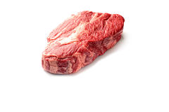 A piece of raw beef steak for bbq  on a white background, top view Stock Image
