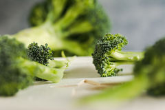 Piece of raw broccoli on white wood, close up. Small pieces of raw broccoli on white wood, Selective focus Royalty Free Stock Images