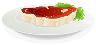 Piece Of Raw Meat On A Dish With Salad Stock Photos