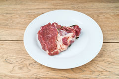 Piece of raw meat on a plate Royalty Free Stock Photo