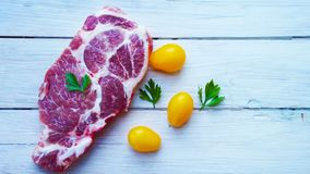 A piece of raw meat. royalty free stock photos