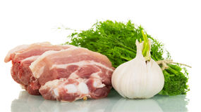 Piece  raw pork meat, garlic and dill isolated on white. Stock Photography
