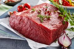 Close up view of rump steak on table Royalty Free Stock Photo