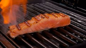 Piece of raw salmon fillet fryed on the grill