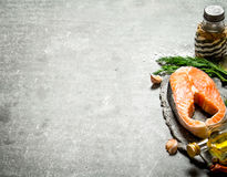 Piece of raw salmon with spices and herbs. . Stock Images