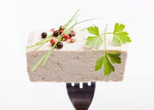Piece of raw tofu on silver fork, decorated with spices and herb, white background Royalty Free Stock Photo