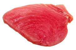 Piece of raw tuna fish meat isolated on white Royalty Free Stock Images