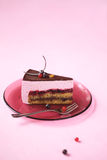 A Piece of Red Currant Souffle Cake Royalty Free Stock Image