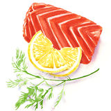 Piece of red fish fillet with lemon. Watercolor painting on white background Royalty Free Stock Photo