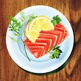 Piece of red fish fillet with lemon on white plate. Watercolor painting on white background Stock Images