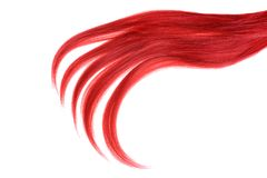 Piece of red hair on white isolated background Stock Images