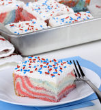 Piece of Red, White and Blue Cake Stock Photos