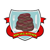 Piece of roasted meat steak. Logo for cafe or restaurant serving meat dishes. Kitchen without vegetables. Vector illustration. Log Stock Image