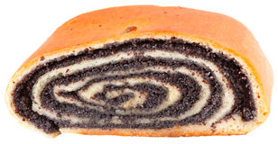 Piece of Roll with Poppy Seeds. At the White Background Royalty Free Stock Image