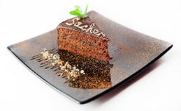 Piece of Sachertorte Stock Photography