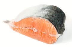 Piece of salmon isolated on white Stock Image