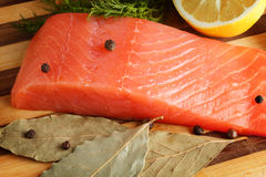 Piece of salmon with spices. On cutting board close-up Royalty Free Stock Images