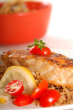 Piece of seared halibut over brown rice Stock Images