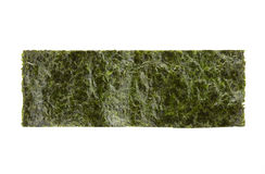 A piece of seasoned dried seaweed. Isolated on white stock images