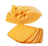 Piece and slices of cheese Royalty Free Stock Photo