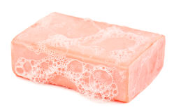 Piece of soap and foam Stock Image