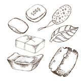 A piece of soap, pumice sponge, hygiene items in the sauna. Set of accessories for bath, sauna. Hand drawing in sketch vector illustration