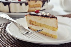 Piece of souffle cake Stock Images