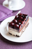 Piece of Sour Cherry Cake Royalty Free Stock Images