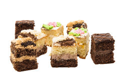 A piece of sponge cake isolated Royalty Free Stock Images