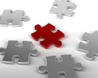 Piece that Stands out. Red Piece of Jigsaw amongst the others. 3D rendered reflective on white background Stock Photography
